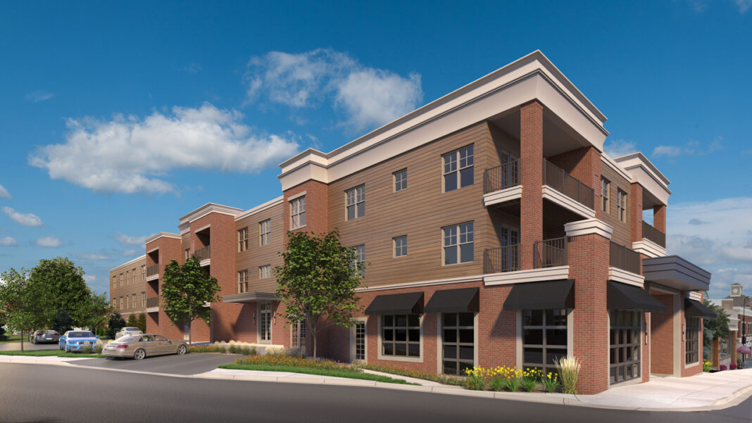 RiverWalk phase two, looking northeast. Rendering courtesy of Wimmer Communities.