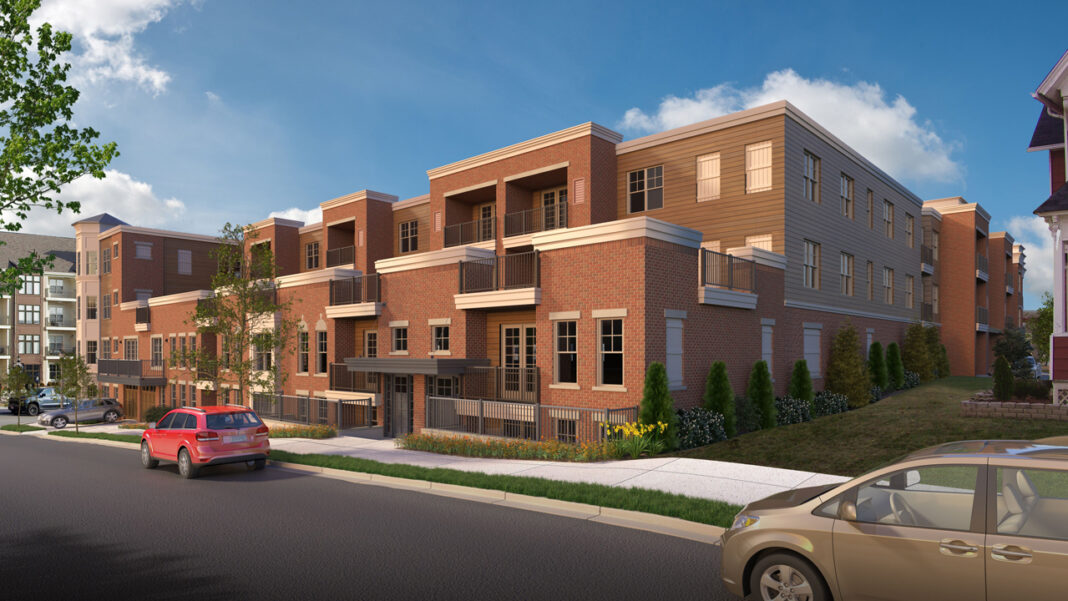 Townhouse-style units facing Grant street. Rendering courtesy of Wimmer Communities.