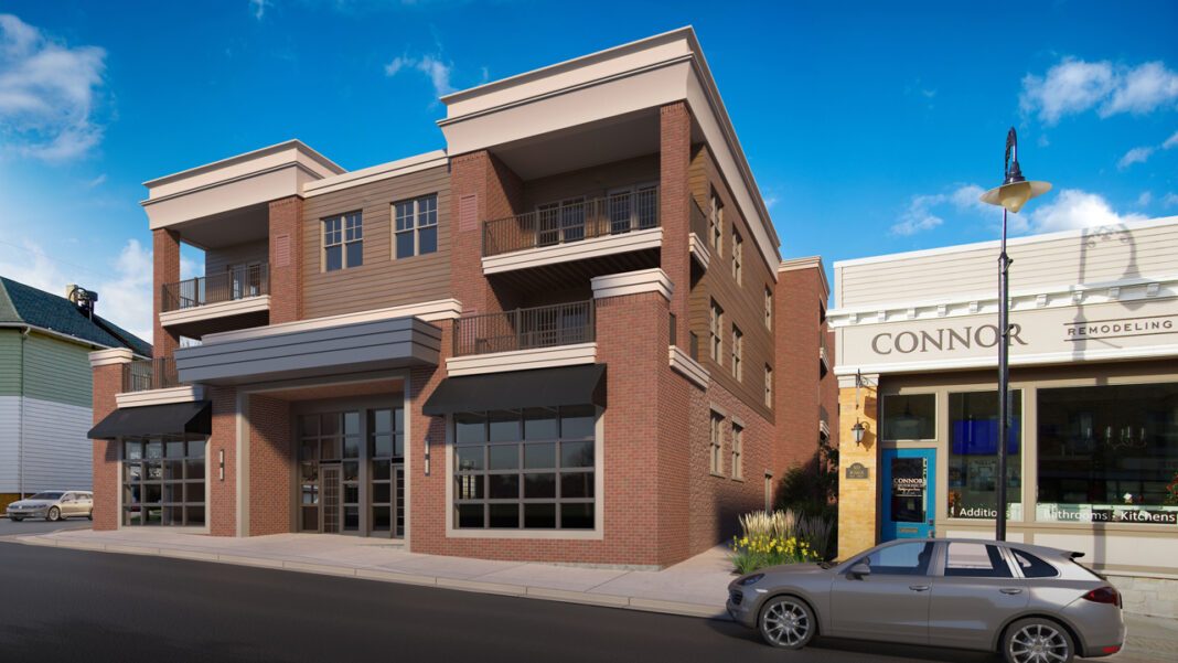 Commercial space facing Main Street. Rendering courtesy of Wimmer Communities.