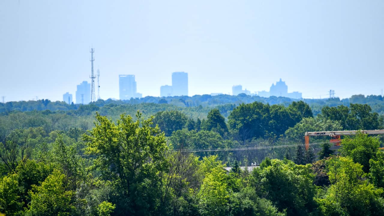The Milwaukee skyline is visible from the corner of Fond du Lac Avenue and Country Aire Drive on the east side of Germantown.