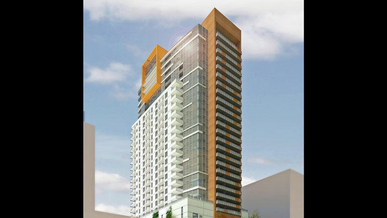 Rendering of the apartment tower planned at the Goll Mansion site. This project never moved forward and the site is now listed for sale.