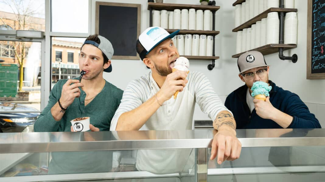 Scratch Ice Cream co-founders Dustin Garley, Ryan Povlick and Justin Povlick. Credit: Andrew Feller