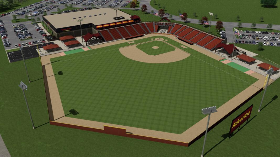 Rendering of the 2,500-seat ballpark planned by Blue Ribbon Baseball in Oconomowoc.