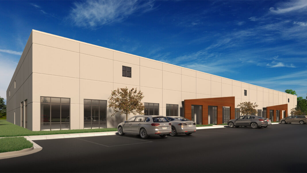 A rendering of the 40,000-square-foot warehouse and office building planned for a site along I-43 in Glendale.