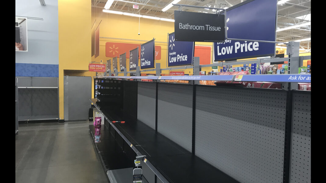 Empty toilet paper shelf at the Walmart in Muskego on Saturday.