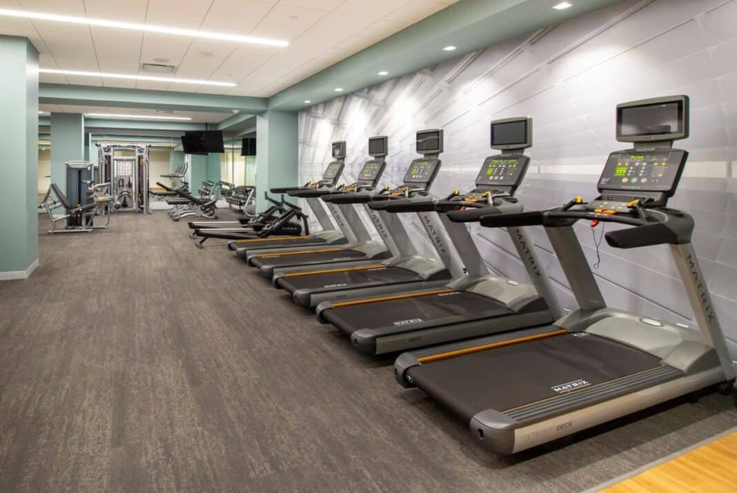 BMO Tower's fitness center is located in the basement. Photo courtesy of Amanda Marek/Irgens Partners