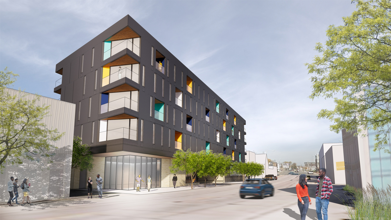 Martin Luther King Economic Development Corp. and KG Development are planning to build the Five Points apartments at a city-owned site at 3317-3349 N. Dr. Martin Luther King Jr. Drive. Rendering: Workshop Architects