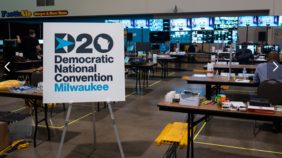 A look inside the virtual video control room for the 2020 Democratic National Convention at the Wisconsin Center in Milwaukee, where hundreds of remote video feeds were housed. Photo credit: Democratic National Convention Committee