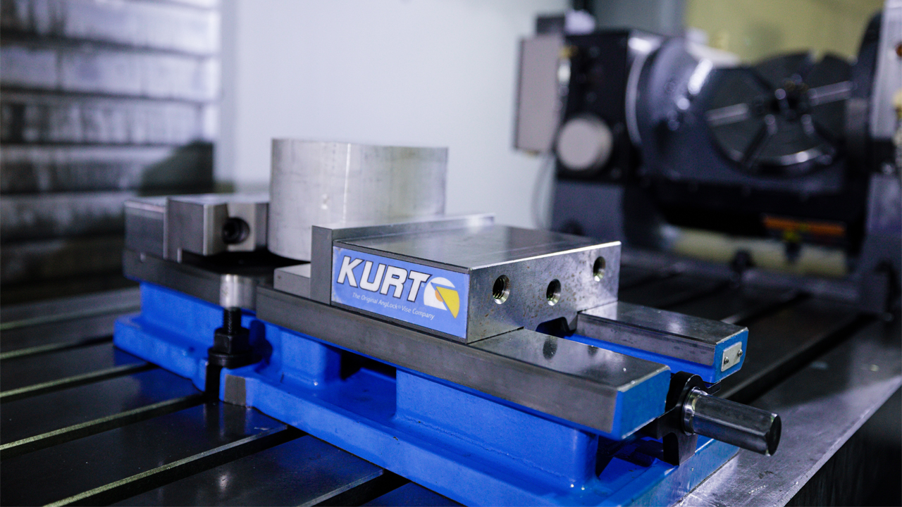 A 5th axis rotary table in a CNC machining center at PartsBadger's Cedarburg headquarters.