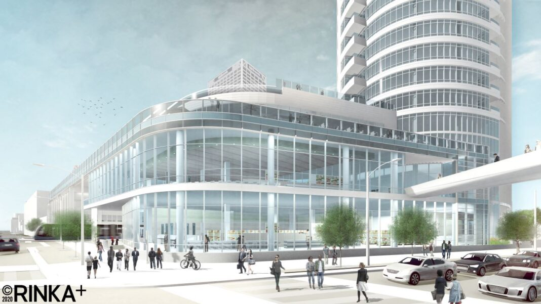 View from the southeast of the two-story retail space and third floor restaurant. Rendering: Rinka