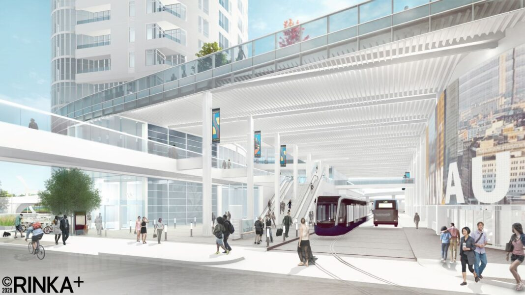View of The Couture transit concourse connecting from Michigan Street to East Clybourn Street with The Hop and MCTS services. Rendering: Rinka