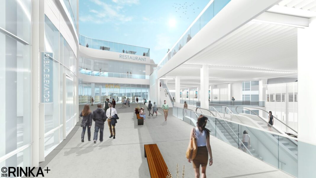 View of the second floor concourse connecting to the footbridge across Lincoln Memorial Drive. Rendering: Rinka