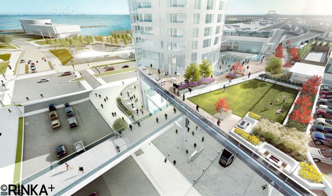 Aerial View of the third floor public park. Rendering: Rinka