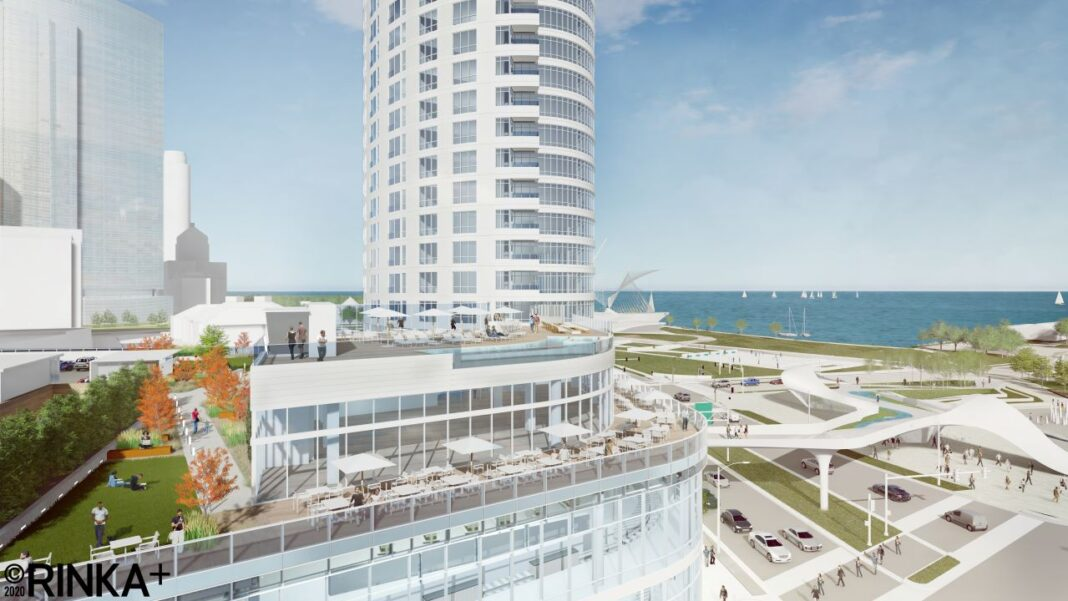 Aerial View of the third floor outdoor dining terrace/public park and fourth floor apartment amenity terrace. Rendering: Rinka