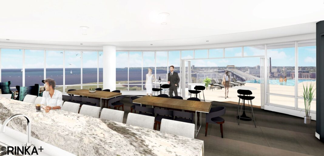 View of the fourth floor community room with outdoor terrace and pool. Rendering: Rinka