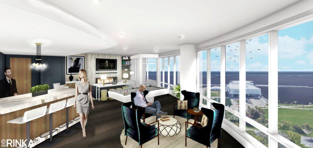 View of the fourth floor community room amenities. Rendering: Rinka