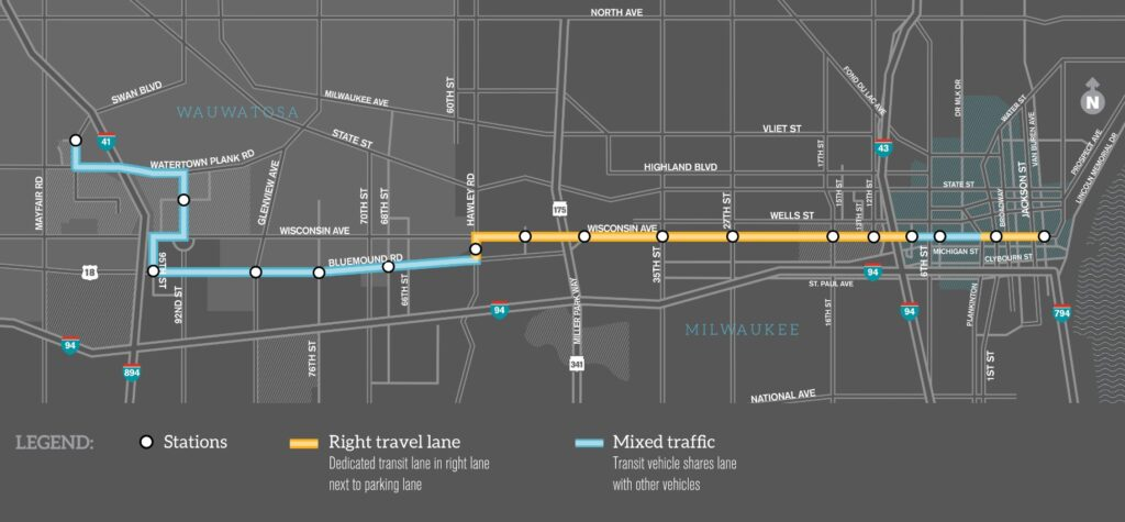 East-West BRT Corridor Map. Courtesy of MCTS