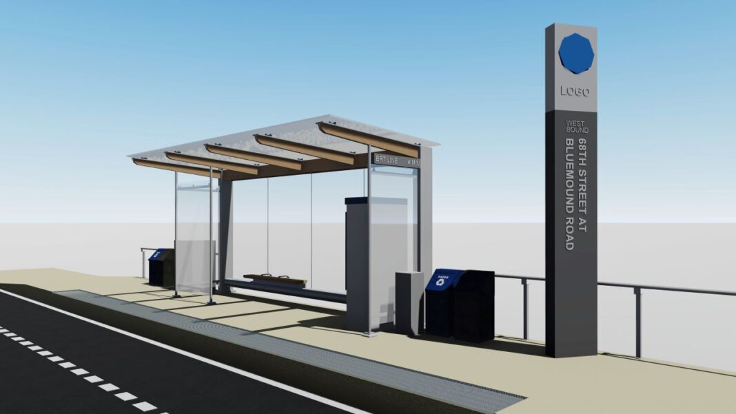 Rendering of a BRT station, courtesy of Milwaukee County Transit Service