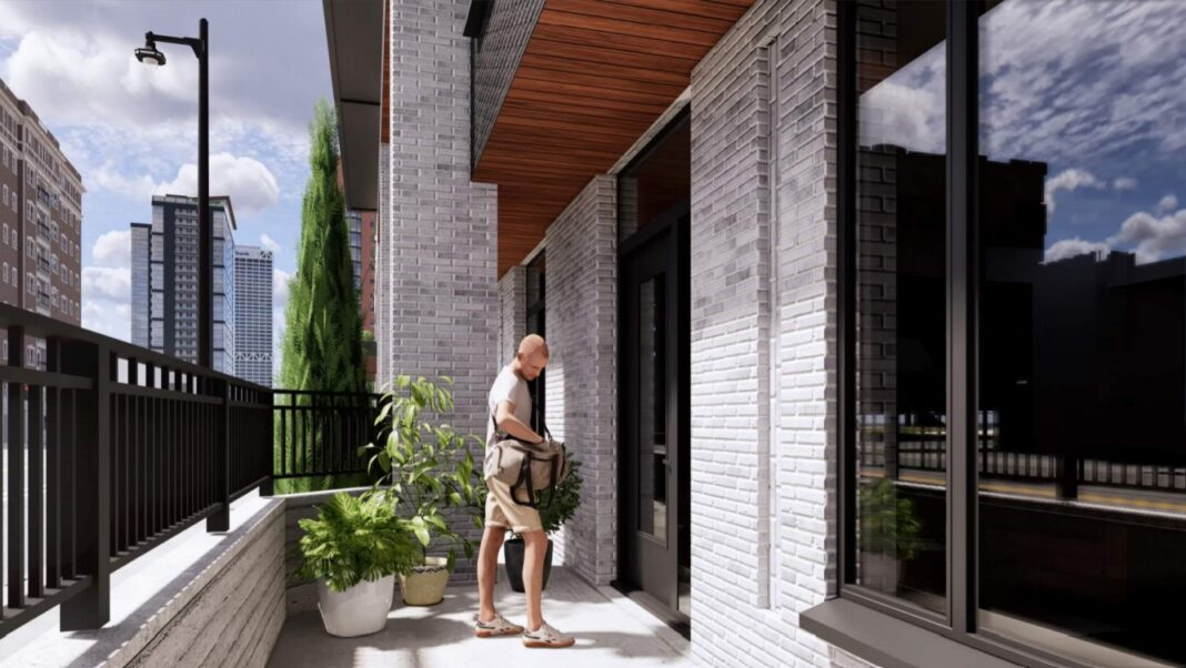 Townhouse entrance. Rendering: Korb and Associates