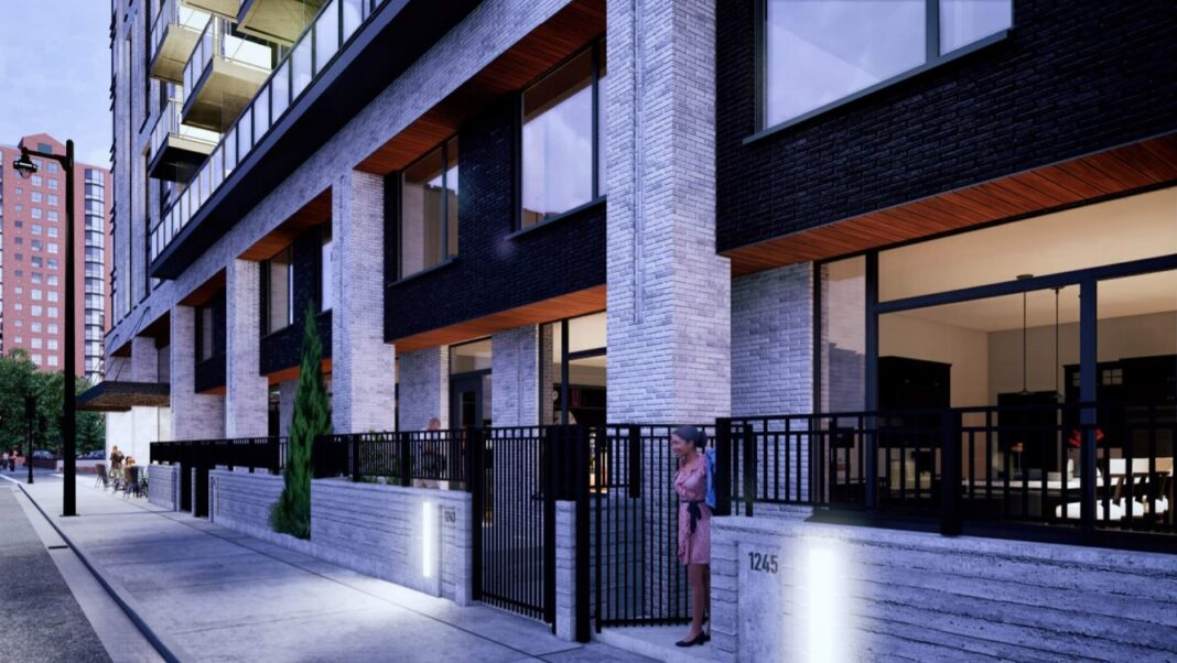 Townhouse entrance street view. Rendering: Korb and Associates