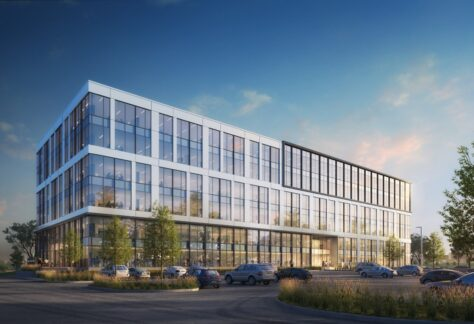 Rendering of the 6-story office building planned by Irgens at the UWM Innovation Campus in Wauwatosa.