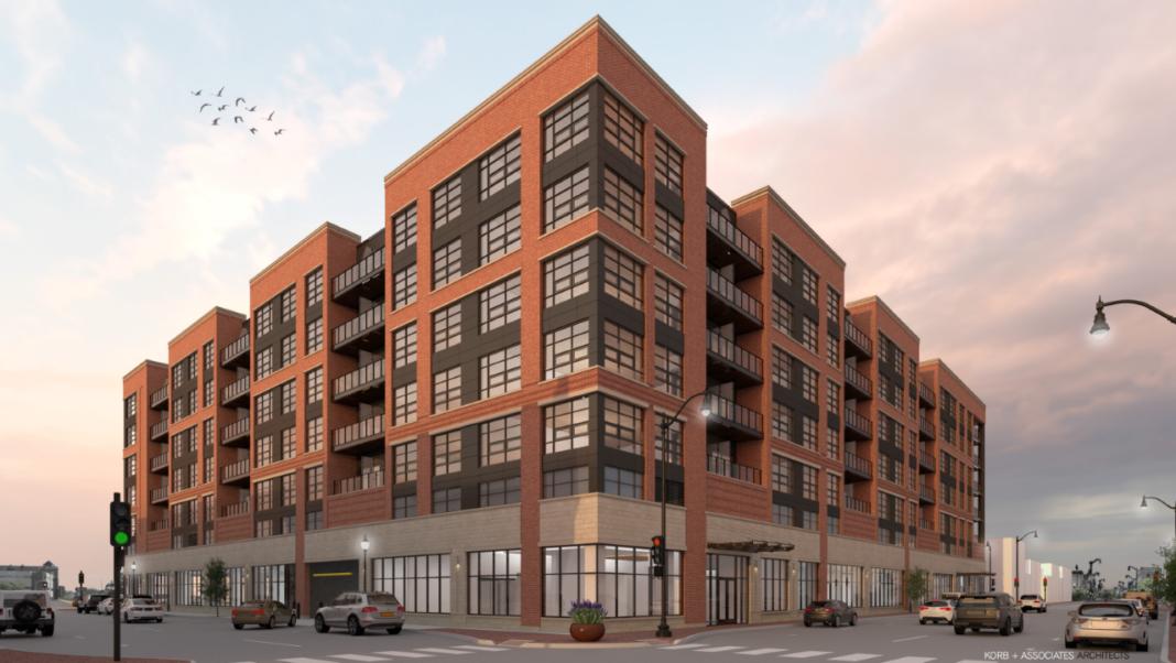 Proposed apartments at Porters site in Racine. Rendering: Korb + Associates