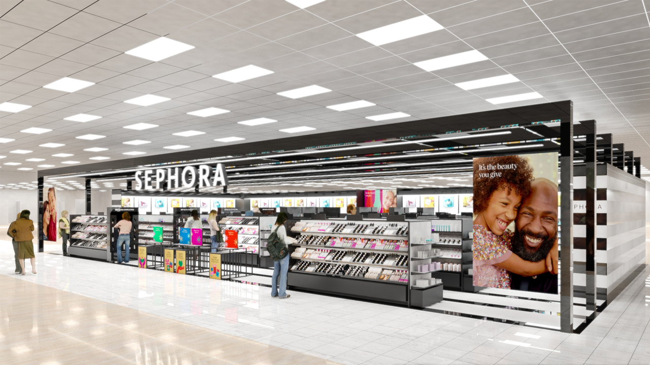 A rendering of a front-of-store sephora shop planned for hundreds of Kohl's locations.