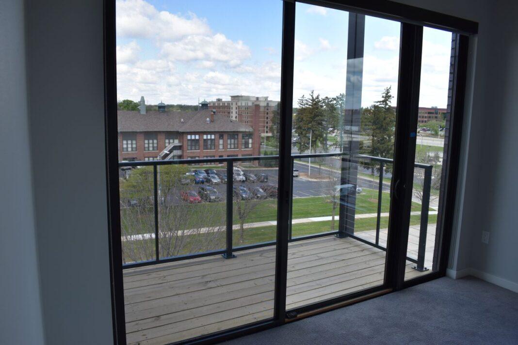 A second-floor balcony