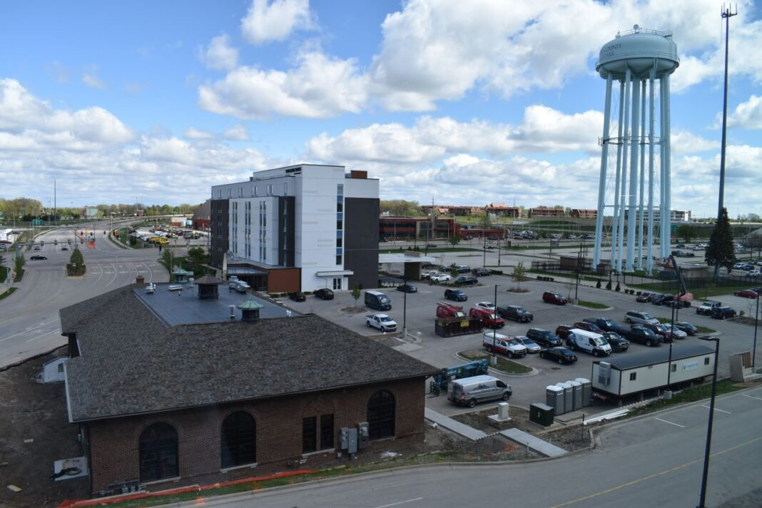 Overlooking the power house building and SpringHill Suites hotel.