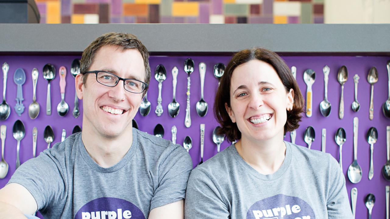 Purple Door Ice Cream owners Steve and Lauren Schultz.