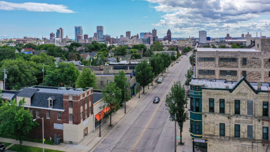 Aerial photo of Dr. Martin Luther King Jr. Drive in Milwaukee. - Jon Elliott of MKE Drones LLC.