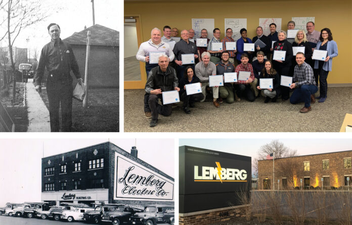 Clockwise from top left: Founder William Lemberg taken April 1, 1939; ESOP Members; Lemberg's current location on 128th Street in Brookfield; Lemberg's historic building on State Street