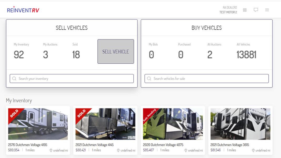 ReinventRV's user interface