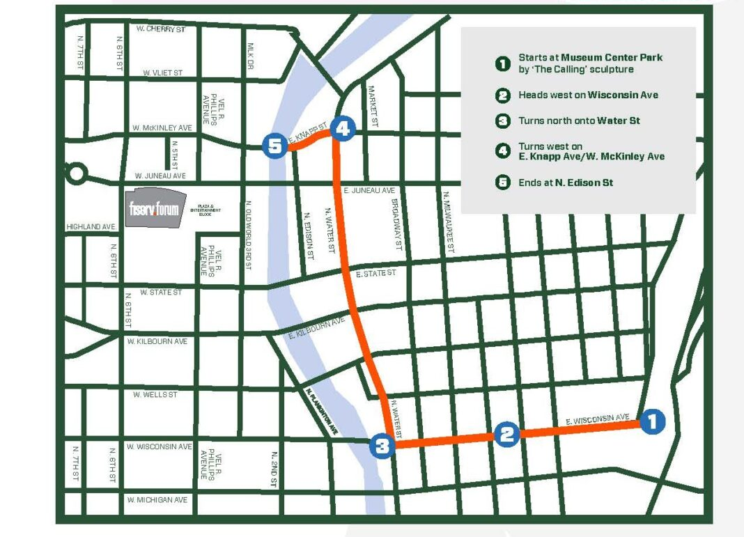 Map of the route for the Milwaukee Bucks NBA championship parade.