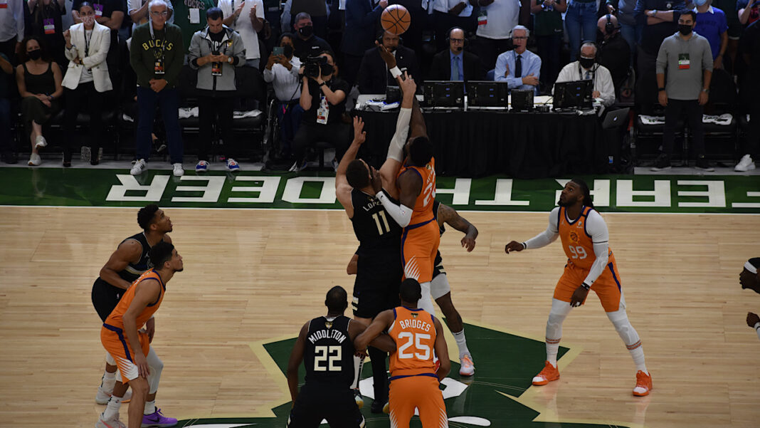 The tip-off to start Game 6 of the NBA Finals, between the Phoenix Suns and the Milwaukee Bucks, at Fiserv Forum.