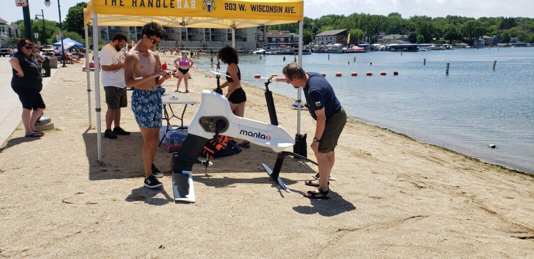 VeloCity Cycling has a demo area for the Hydrofoiler XE-1 at Pewaukee Lake. Photo courtesy of VeloCity Cycling.