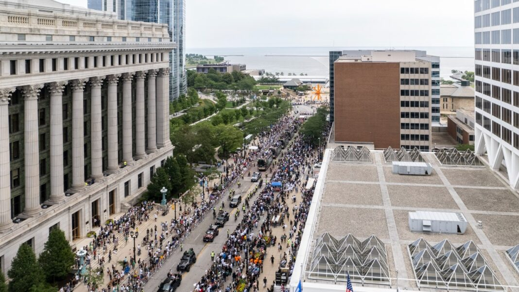 Aerial photo of the Bucks NBA championship parade on Wisconsin Avenue in downtown Milwaukee. Photo shot by Jon Elliott of MKE Drones LLC.