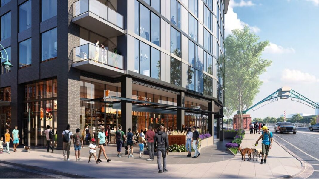 View from northeast corner of site, looking down St. Paul Avenue. Rendering: Solomon Cordwell Buenz