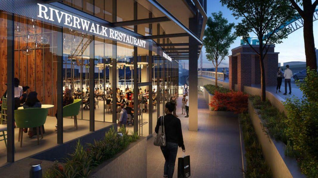 Possible restaurant space facing Riverwalk. Rendering: Solomon Cordwell Buenz