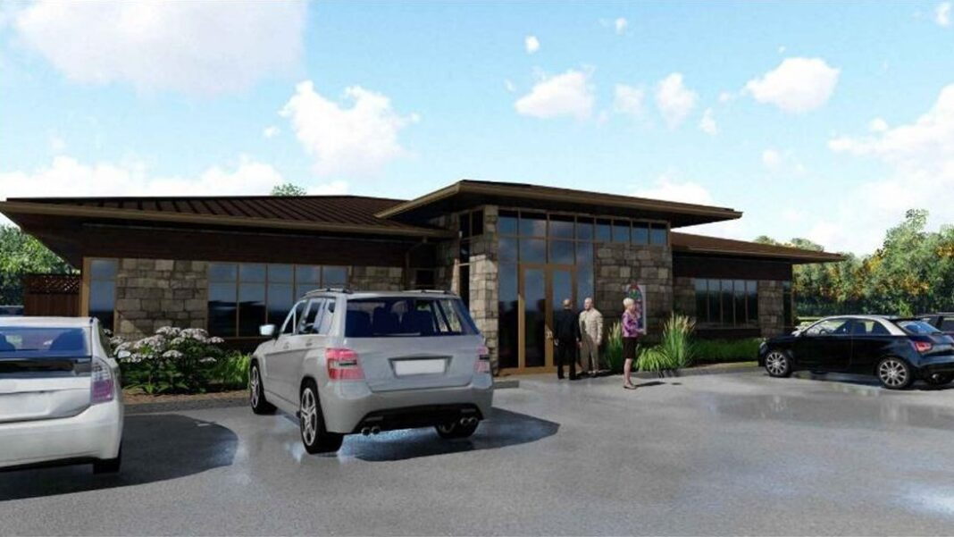 Proposed Church and Chapel funeral planning offices at Loomis Crossing in Greenfield. Obtained from city records.