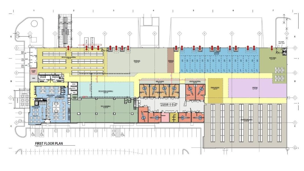 Proposed GE Healthcare first-floor layout at 4775 W. Electric Ave., West Milwaukee. Credit: Eppstein Uhen Architects