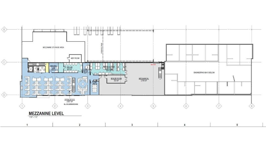 Proposed mezzanine level to include offices, lab space and mechanical room and storage area. Credit: Eppstein Uhen Architects