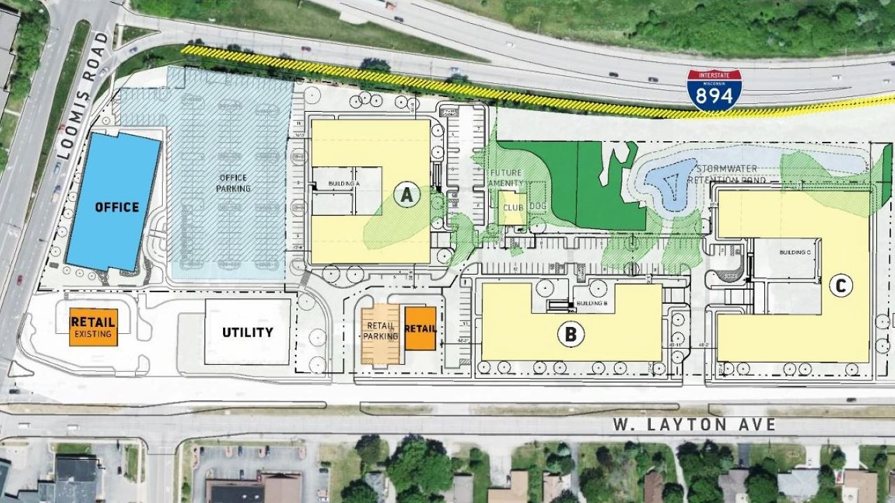 Site plan for southern portion of Loomis Crossing in Greenfield. Obtained from city documents.