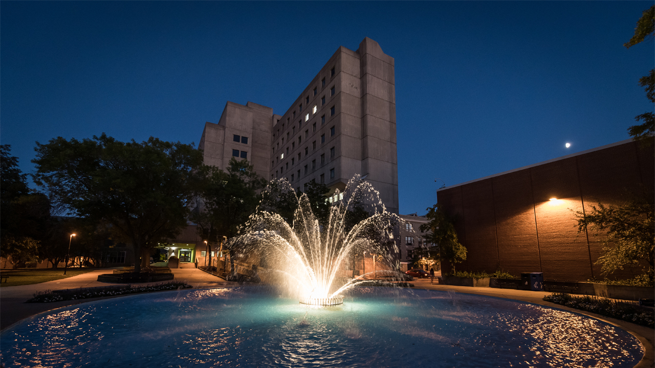 The fountain on the UWM campus.
