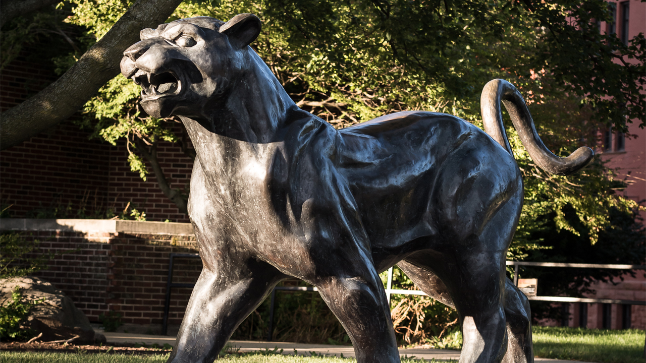Panther statue on UWM's campus.