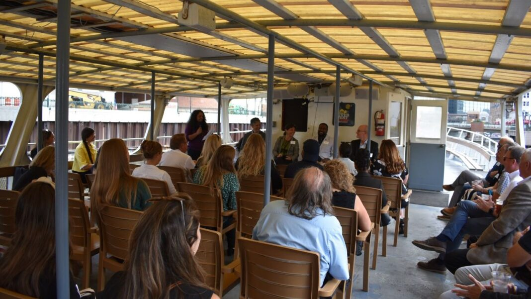 Attendees of Wisconsin CREW panel discussion on Milwaukee's waterfronts.