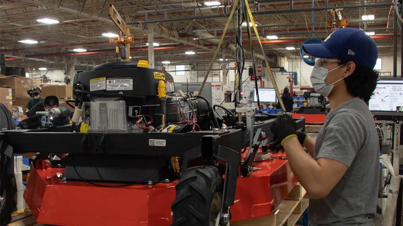 An operator works on the Generac home standby generator line in Whitewater.