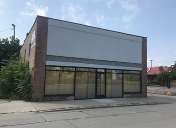 Vacant car shop on South First Street