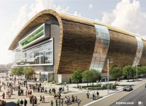Rendering of Milwaukee Bucks Arena in downtown Milwaukee
