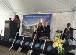 Alderwoman Milele Coggs addresses the crowd at a groundbreaking ceremony for the new Bader Philanthropies headquarters on Dr. Martin Luther King, Jr. Drive.